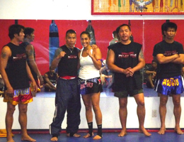Gina Reyes training with Saekson Janjira and many of the Worlds BEST Thai Boxing teachers.